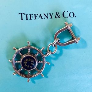 Tiffany & Co. Silver Nautical Compass Keychain